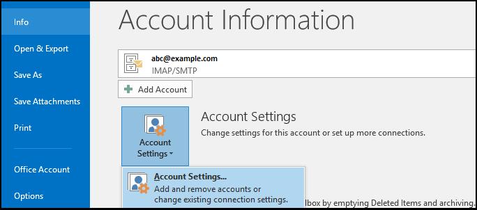 Setting up internet account setting