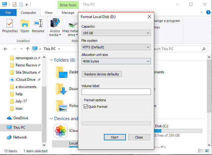 Format using File Explorer