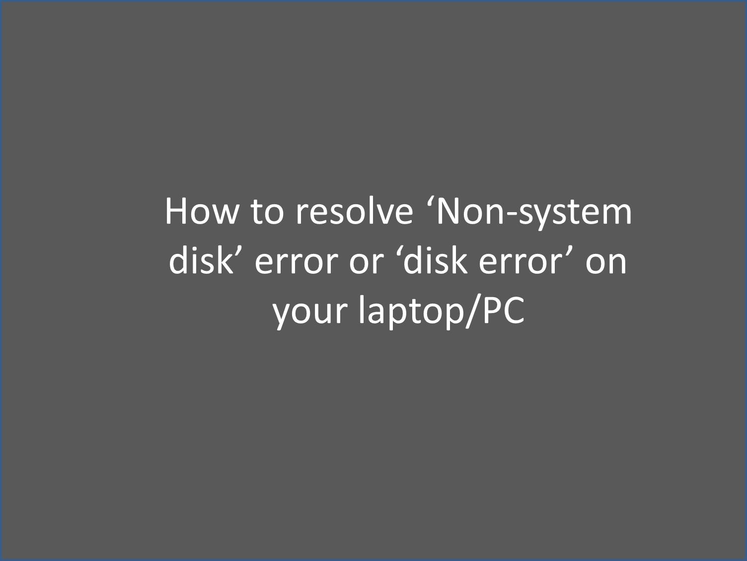 Disk Error repair
