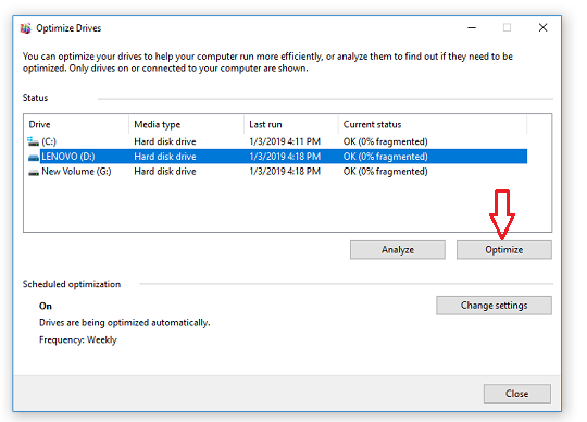Select partition to defrag