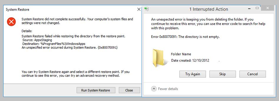 Fix Error code 0x80070091 in Windows 10
