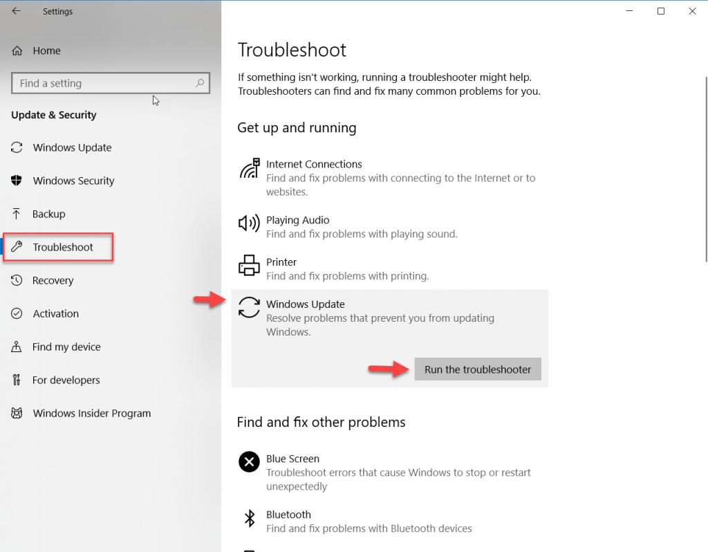fix-0x80004005-select-run-update-troubleshooter