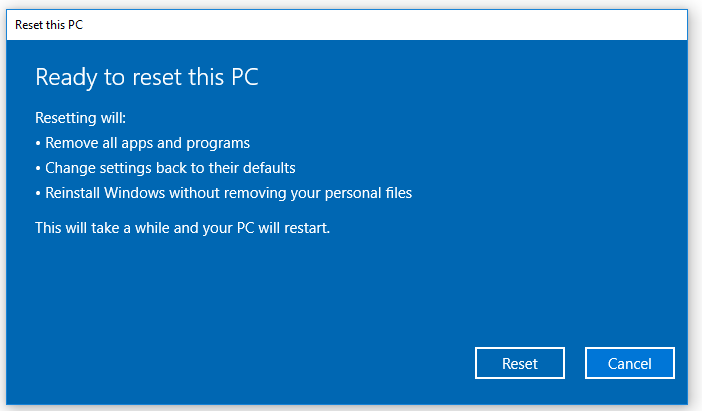 Ready to Reset PC