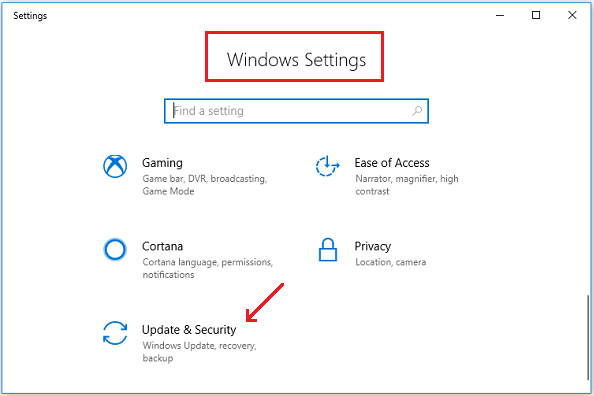 Windows Settings - Update and Security