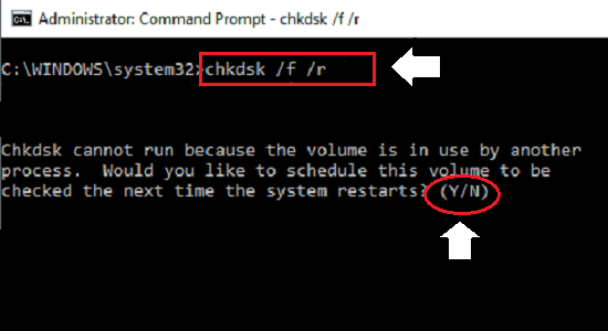 Type chkdsk command