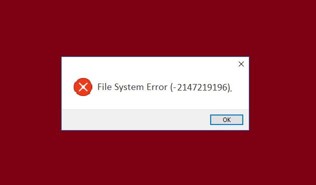 Fix File System error-2147219196