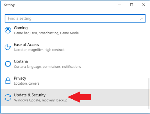 Settings - Update and Security