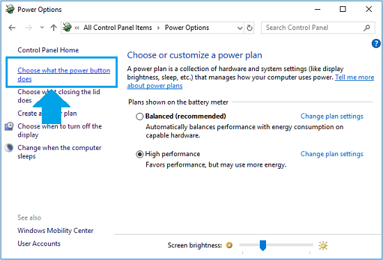 Select What the Power button does option