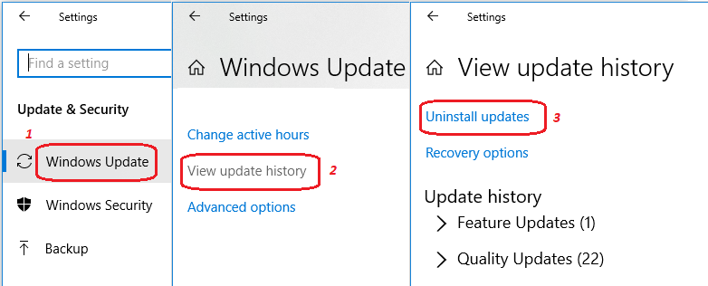 View installed update history