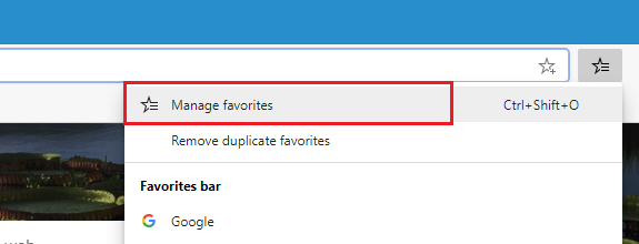 Recover favorites on Microsoft edge
