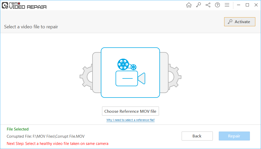 Click on Choose Reference MOV File, browse and select a healthy video file.