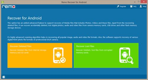 How to Recover Deleted Data from Memory Card in Android - Main Screen