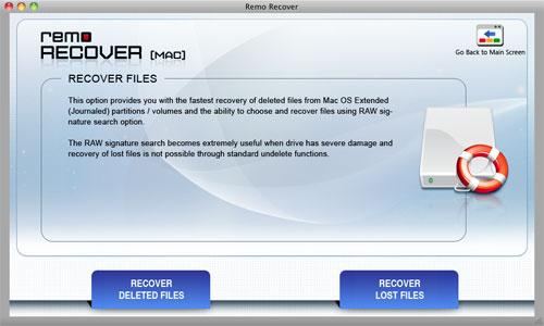 Remo Mac OS X Recovery - Select File Recovery Option