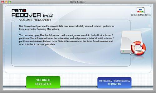 Recover HFS Partition - Select Volume Recovery