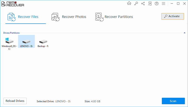 Retrieve Deleted Photo from Windows 7 - Main Screen