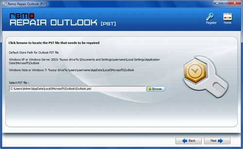 修復Outlook 2007數據文件錯誤 - Main Screen